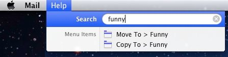 Use Search in menus to find your email folder